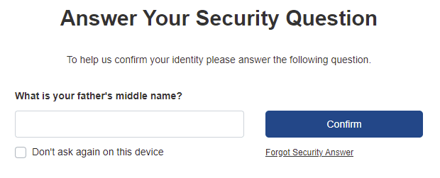 Security question challenge form
